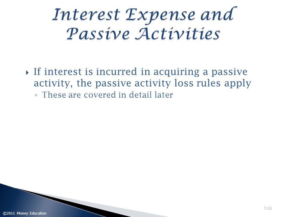 Interest Expense and Passive Activities