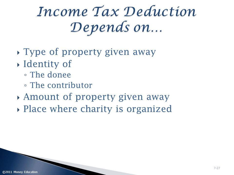 Income Tax Deduction Depends on…