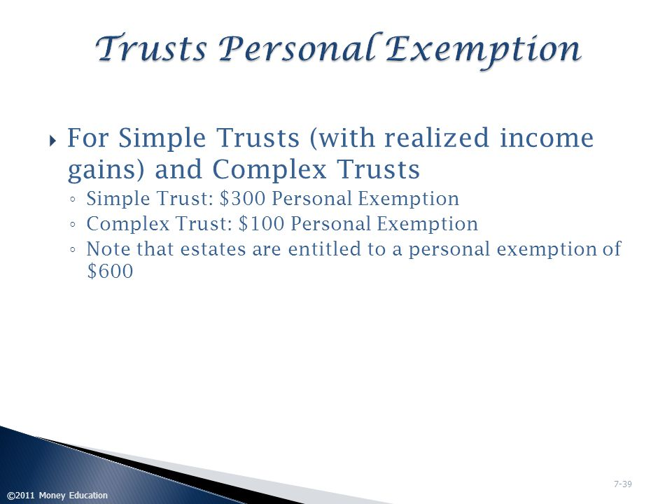 Trusts Personal Exemption