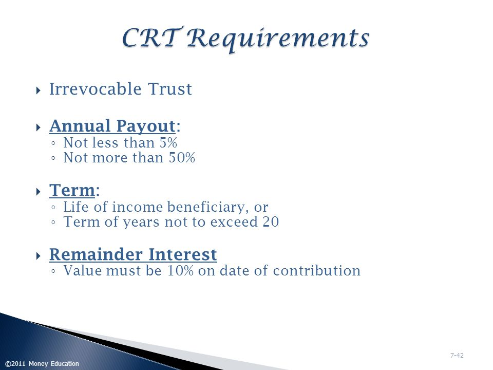 CRT Requirements Irrevocable Trust Annual Payout: Term:
