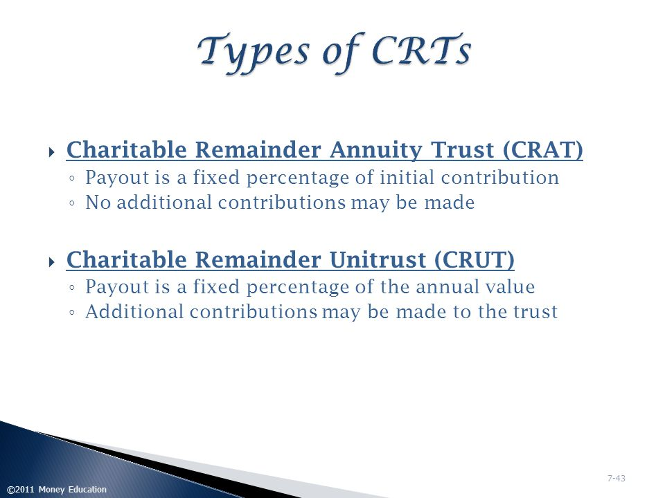 Types of CRTs Charitable Remainder Annuity Trust (CRAT)