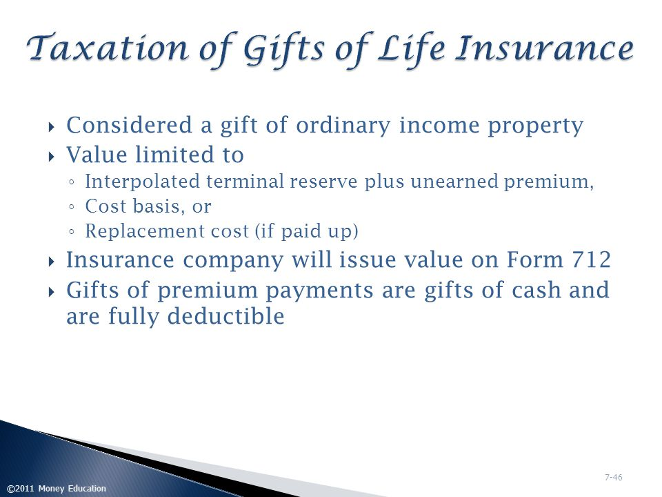 Taxation of Gifts of Life Insurance