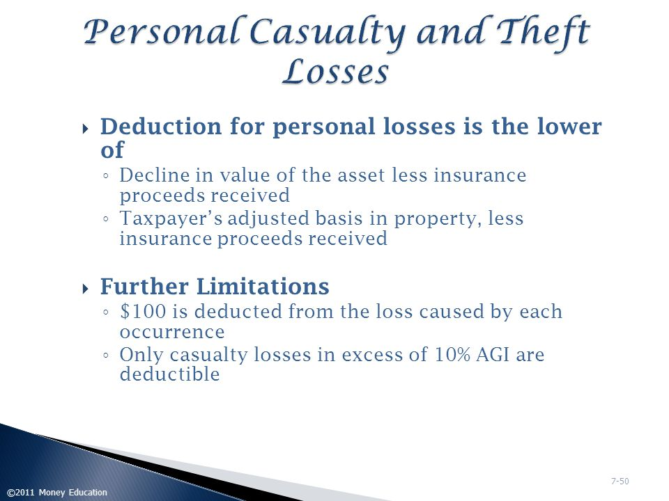 Personal Casualty and Theft Losses