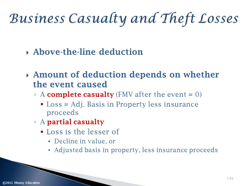 Business Casualty and Theft Losses