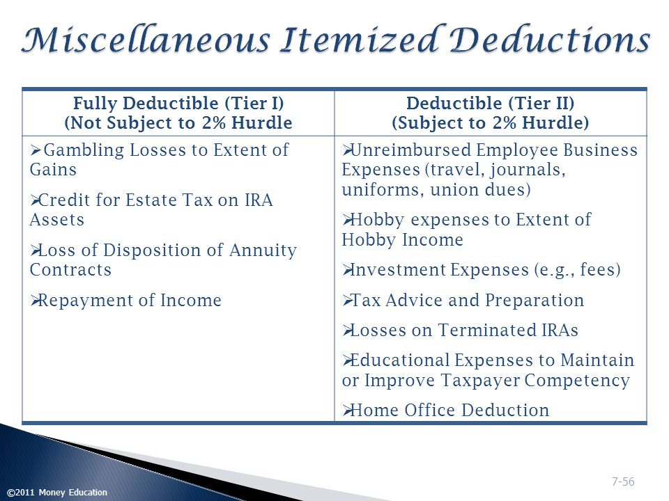 Itemized Deductions Chapter 7 © 2009 Money Education. - Ppt Download