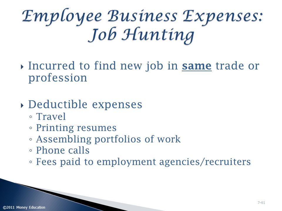 Employee Business Expenses: Job Hunting