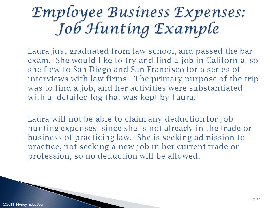Employee Business Expenses: Job Hunting Example