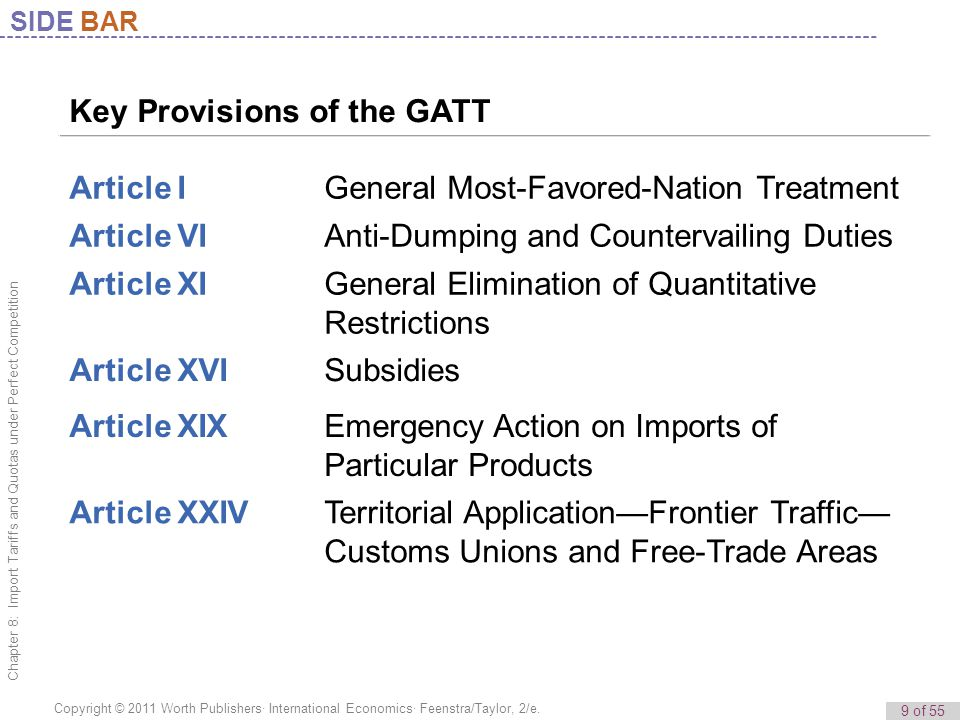 Key Provisions of the GATT Article I