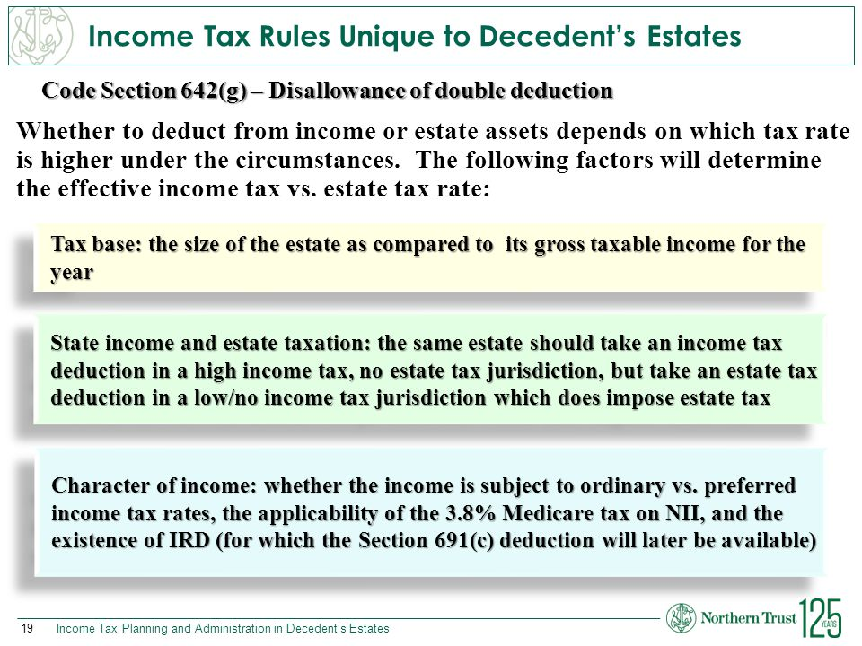 Income Tax Rules Unique to Decedent's Estates