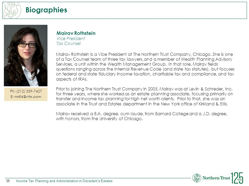 Biographies Mairav Rothstein Vice President Tax Counsel