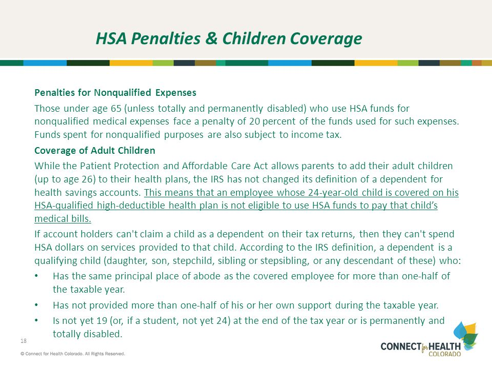 HSA Penalties & Children Coverage