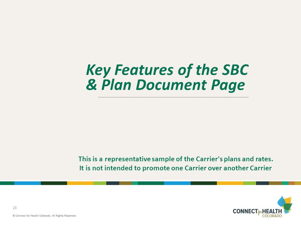 Key Features of the SBC & Plan Document Page