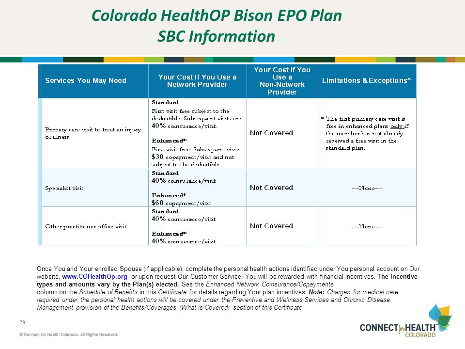 Colorado HealthOP Bison EPO Plan SBC Information