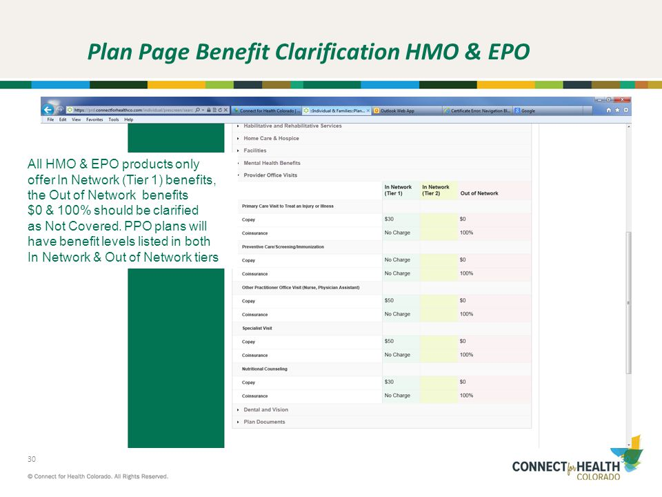 Plan Page Benefit Clarification HMO & EPO