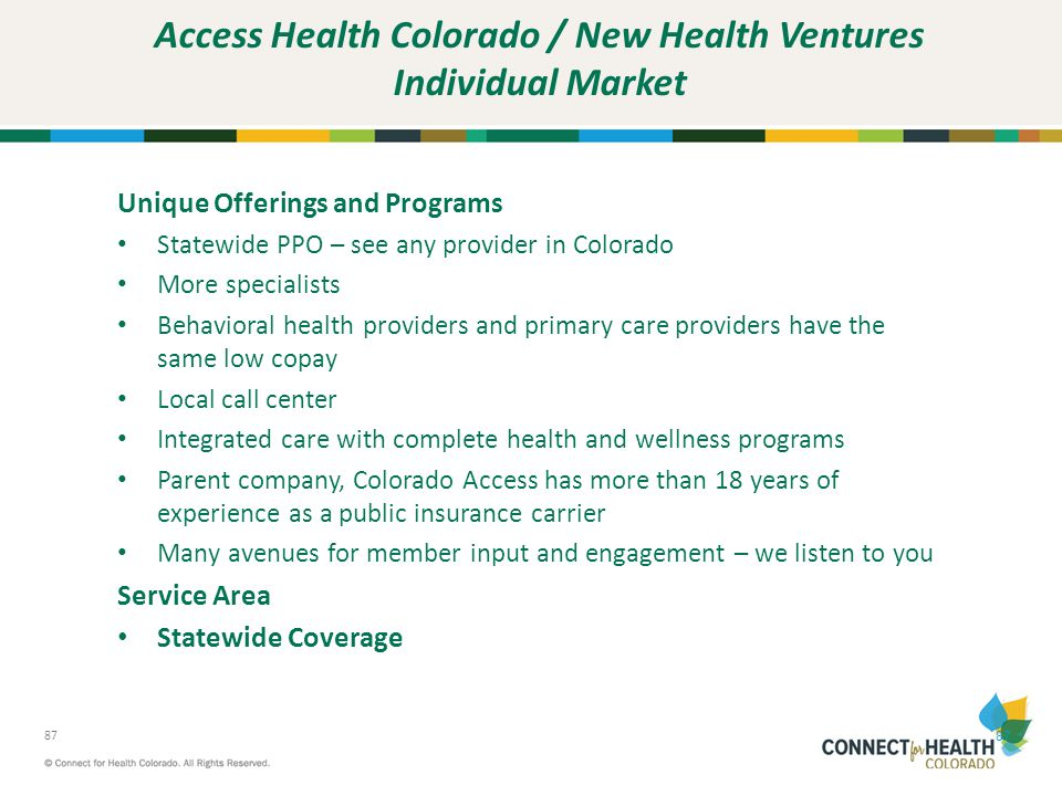 Access Health Colorado / New Health Ventures Individual Market