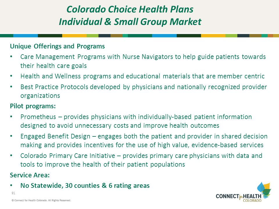 Colorado Choice Health Plans Individual & Small Group Market
