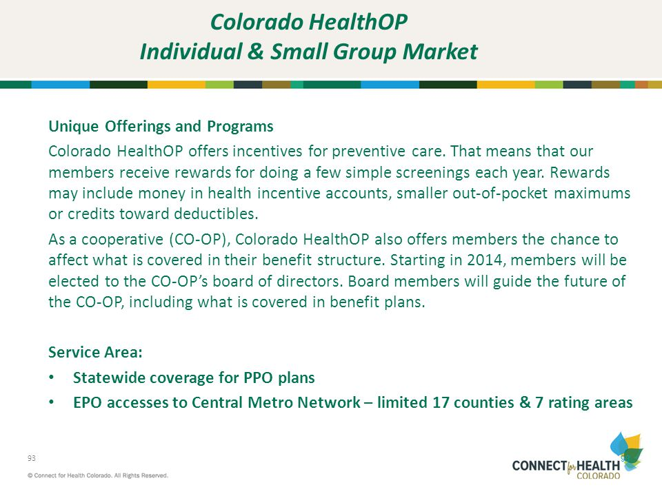 Colorado HealthOP Individual & Small Group Market