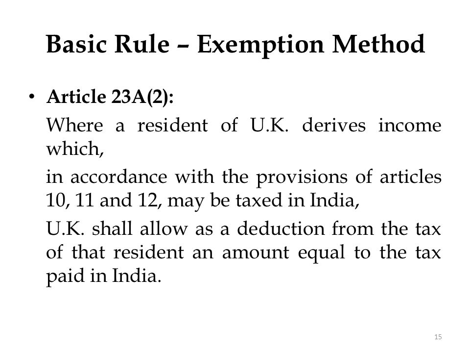 Basic Rule – Exemption Method
