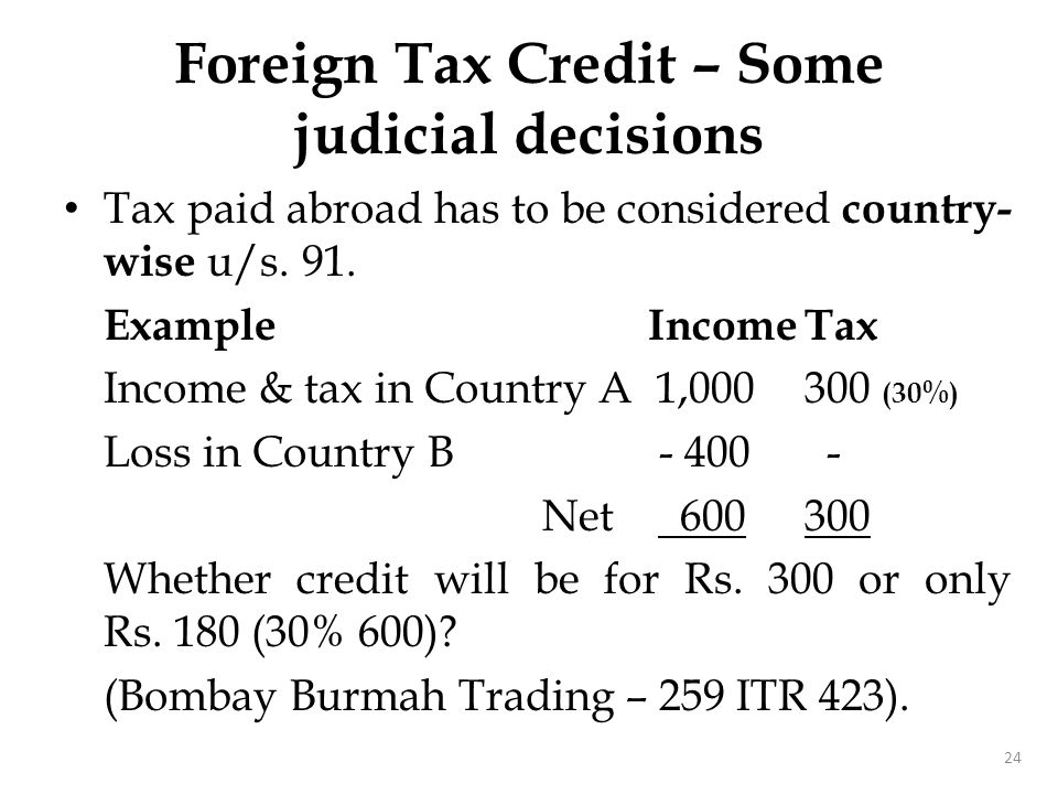 Foreign Tax Credit – Some judicial decisions