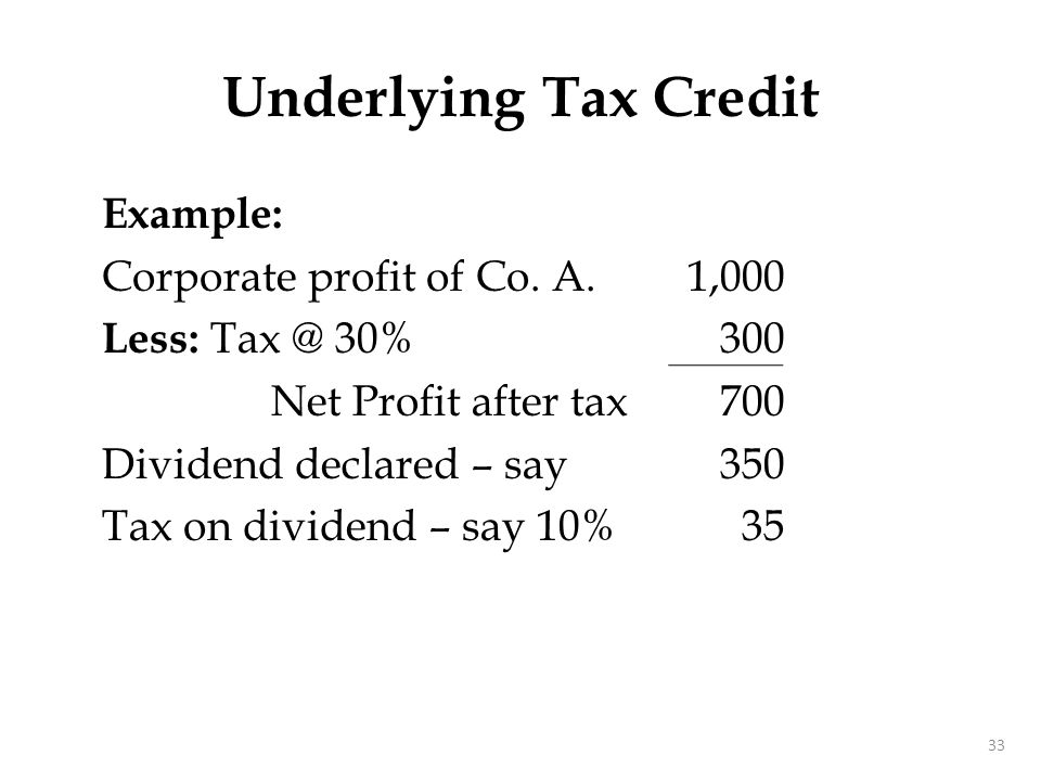 Underlying Tax Credit