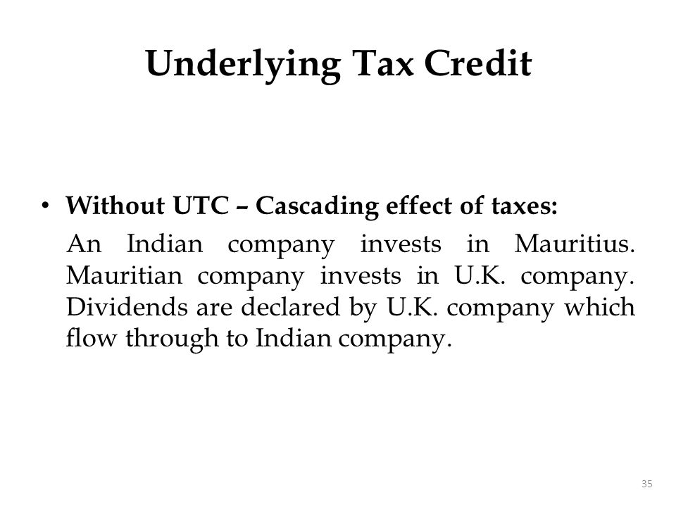 Underlying Tax Credit Cascading effect of taxes… Income in U.K. 1,000