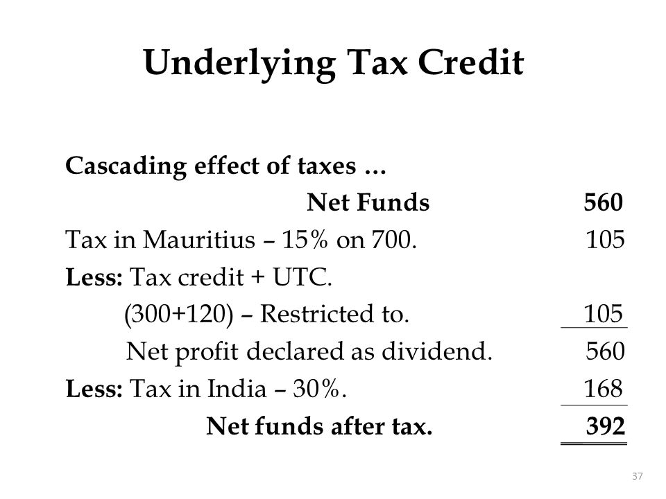 Underlying Tax Credit With UTC – Cascading effect reduced: