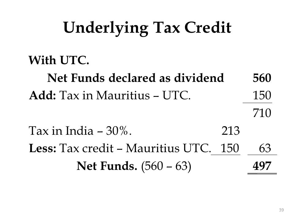 Tax Sparing Credit Tax relief in the COS is enjoyed by the Government of resident.