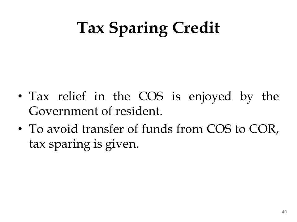 Tax Sparing - Example
