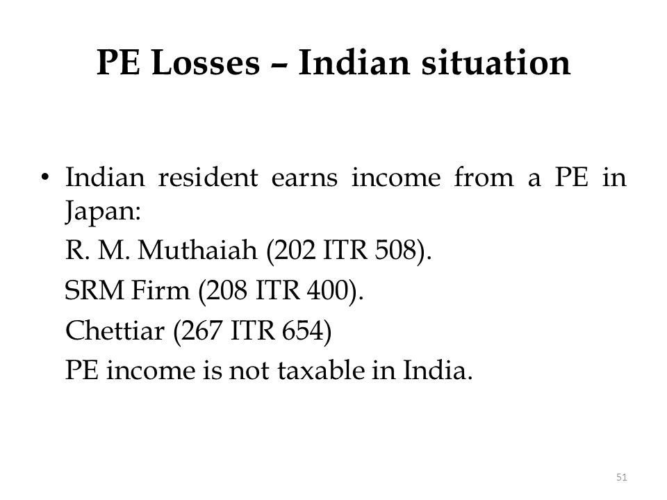 PE Losses – Indian situation