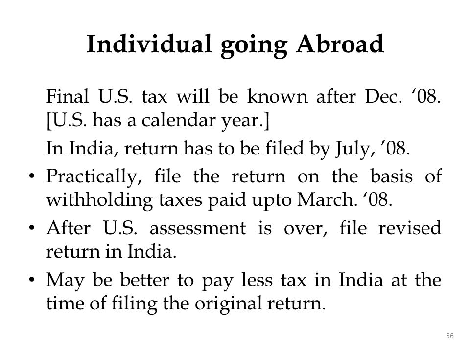 Individual going Abroad