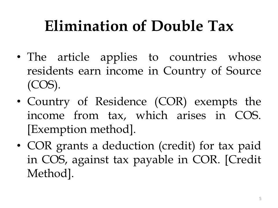 Elimination of Double Tax