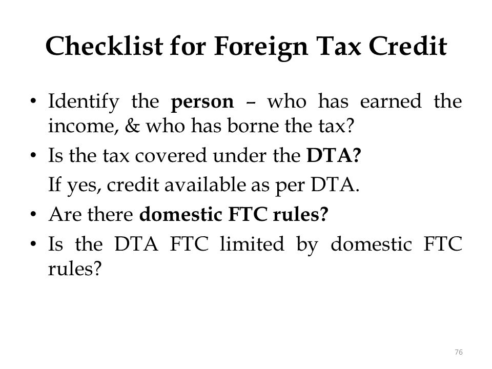 Checklist for Foreign Tax Credit