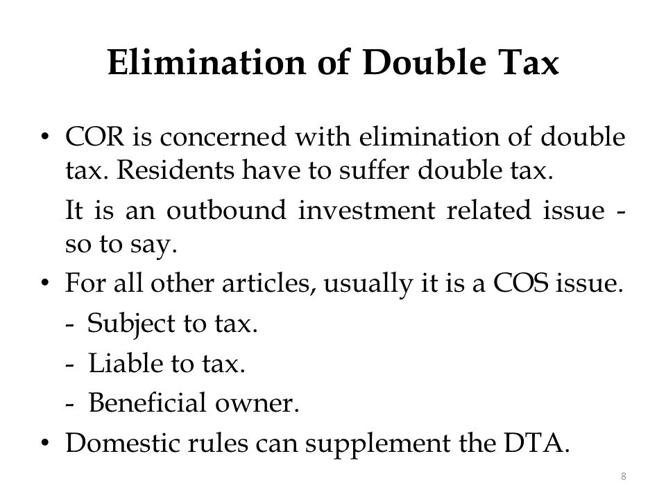 Double Taxation - different kinds