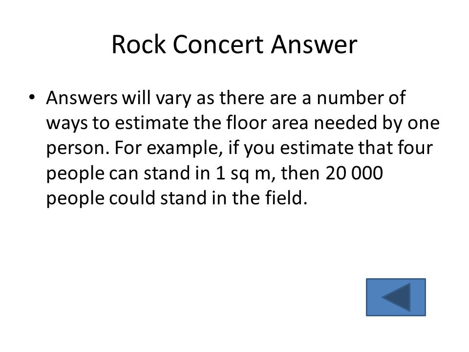 Rock Concert Answer