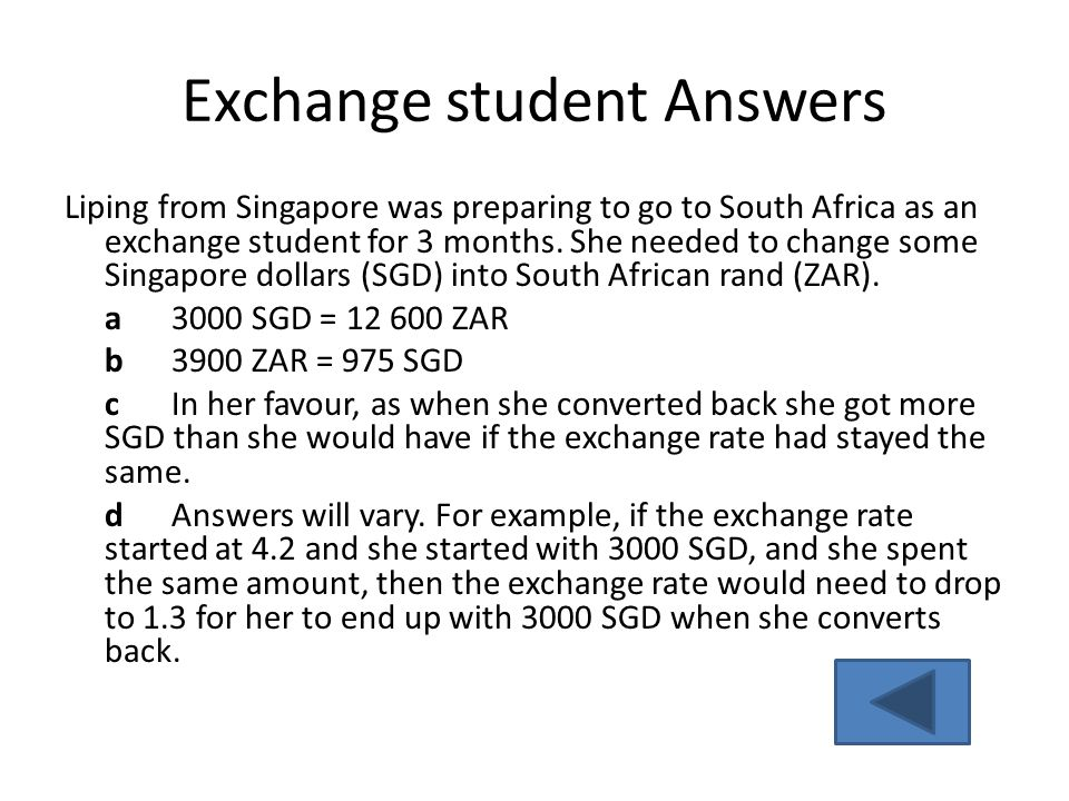 Exchange student Answers