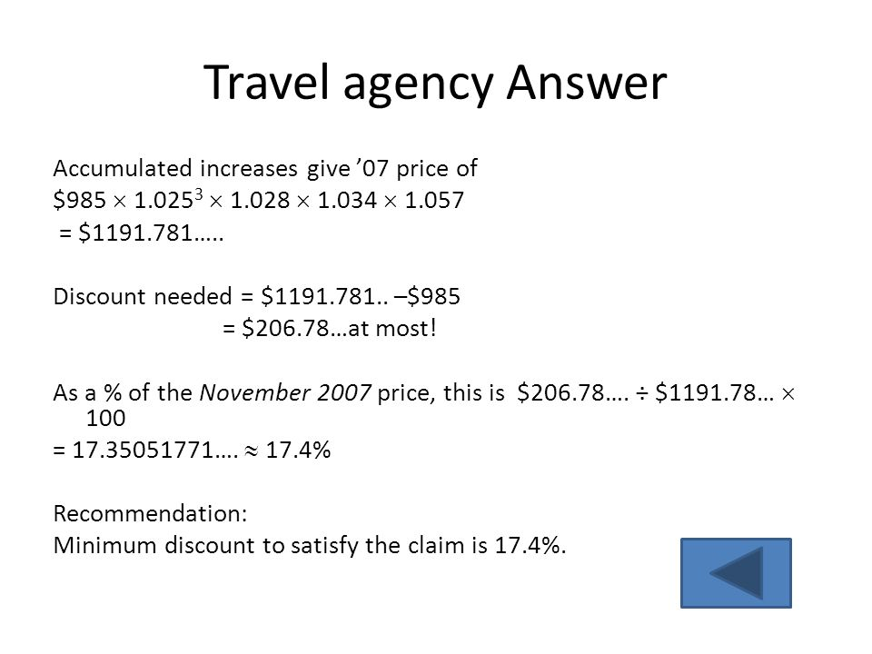 Travel agency Answer