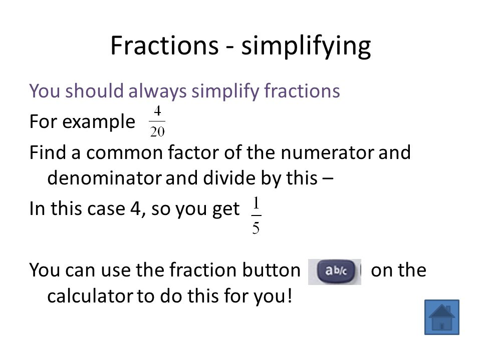 Fractions - simplifying