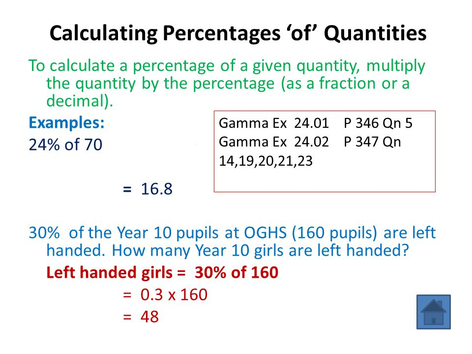 Calculating Percentages 'of' Quantities