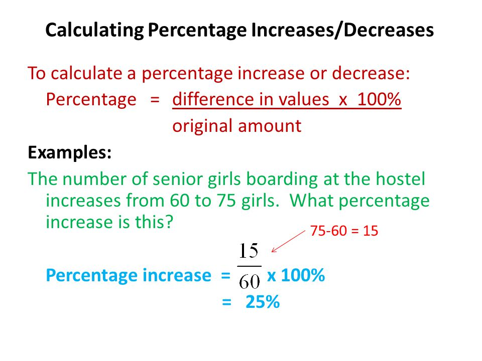 Calculating Percentage Increases/Decreases