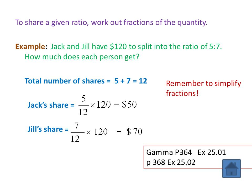 To share a given ratio, work out fractions of the quantity