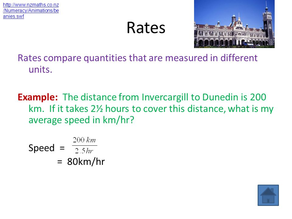 Rates Rates compare quantities that are measured in different units.