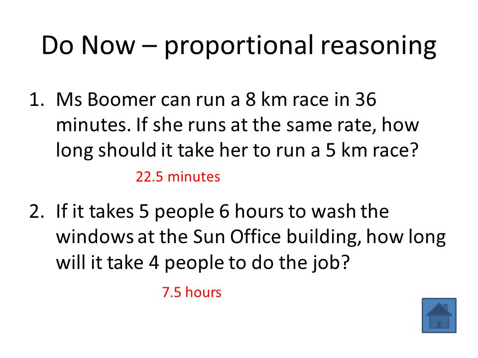 Do Now – proportional reasoning