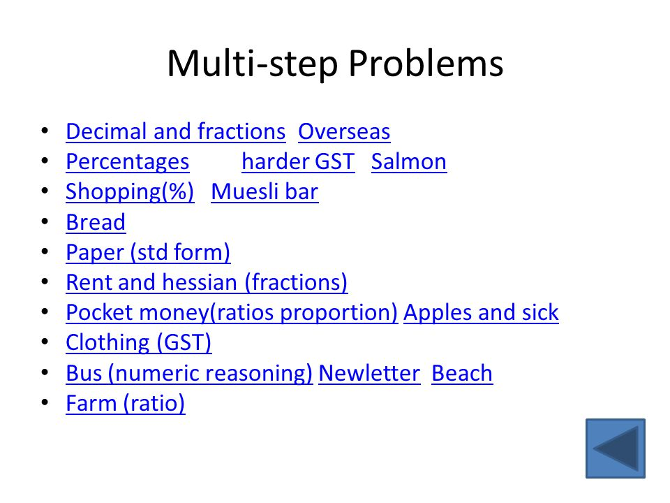 Multi-step Problems Decimal and fractions Overseas