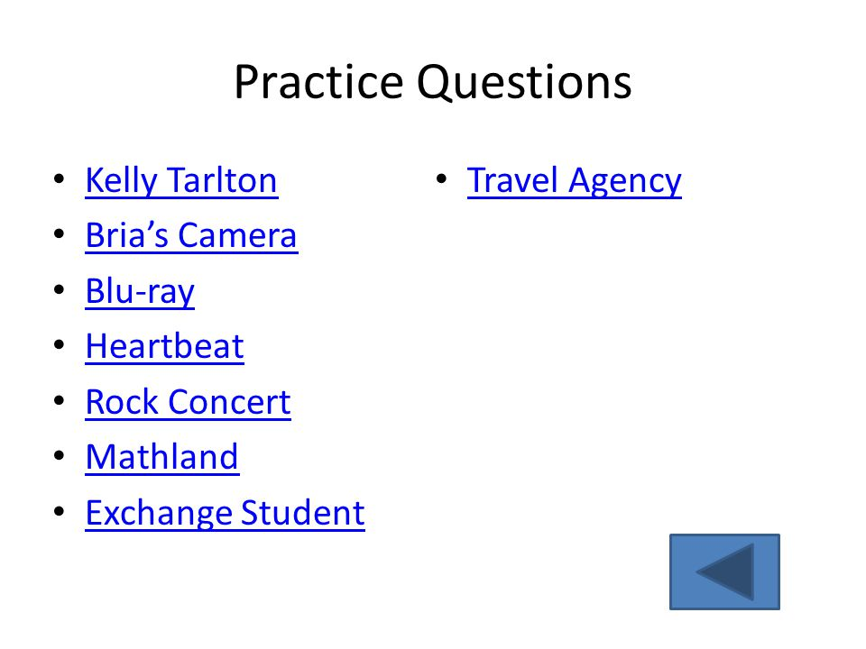 Practice Questions Kelly Tarlton Travel Agency Bria's Camera Blu-ray