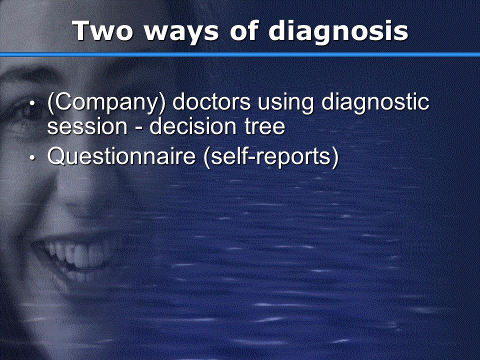 Two ways of diagnosis (Company) doctors using diagnostic session - decision tree.