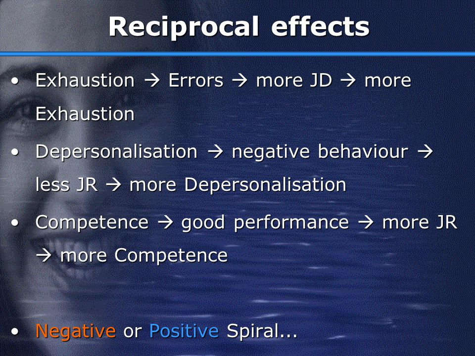 Reciprocal effects Exhaustion  Errors  more JD  more Exhaustion