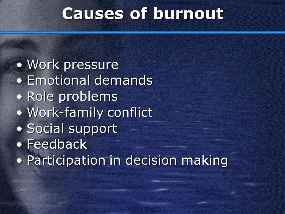 Causes of burnout Work pressure Emotional demands Role problems
