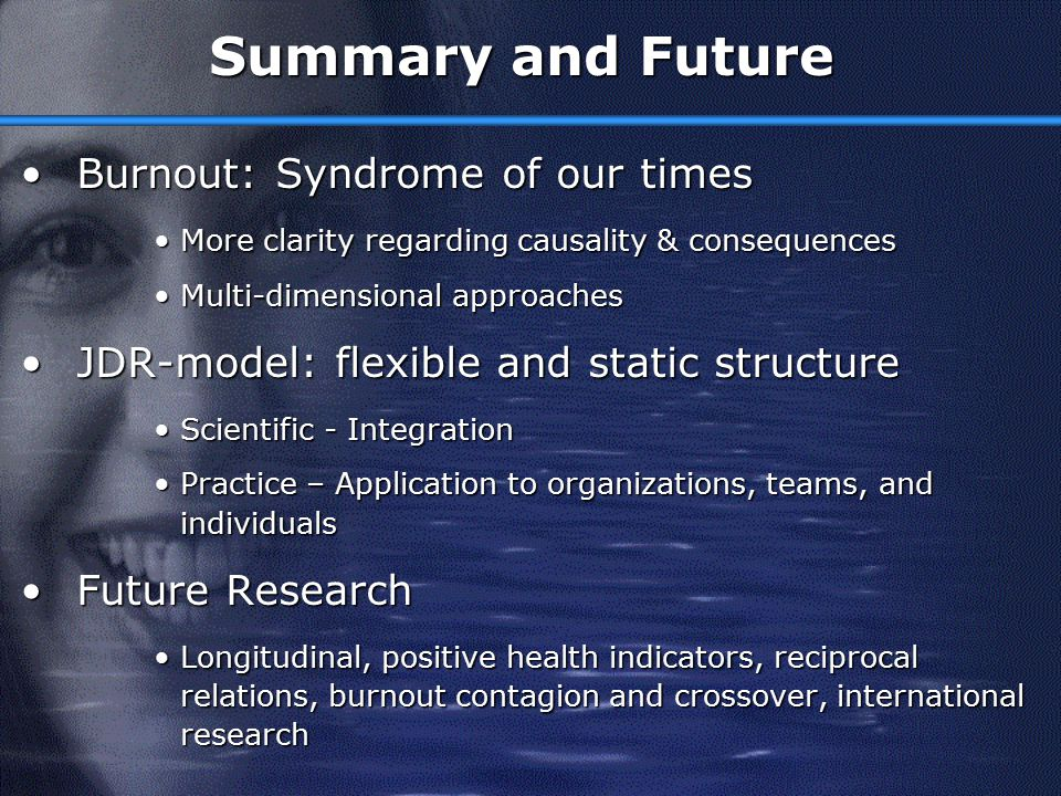 Summary and Future Burnout: Syndrome of our times