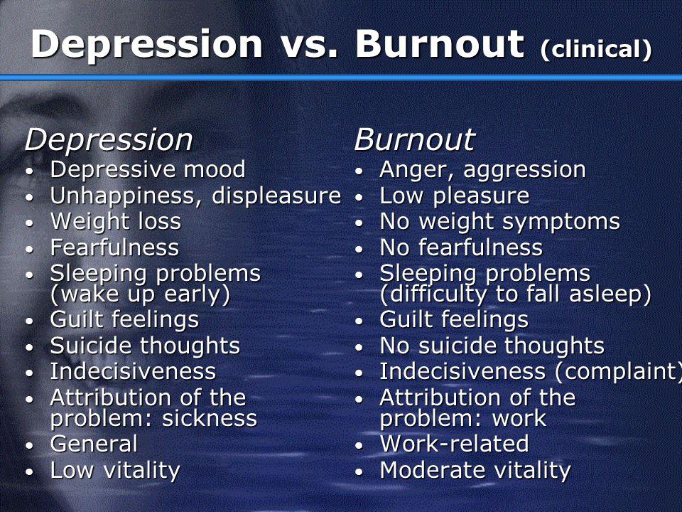 Depression vs. Burnout (clinical)