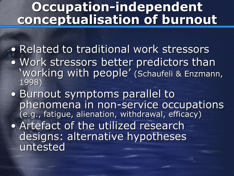 Occupation-independent conceptualisation of burnout